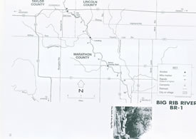 Map of Big Rib river, wisconsin