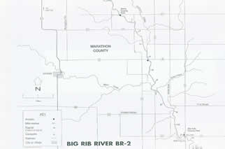 Map of Big Rib river, wisconsin for canoeing